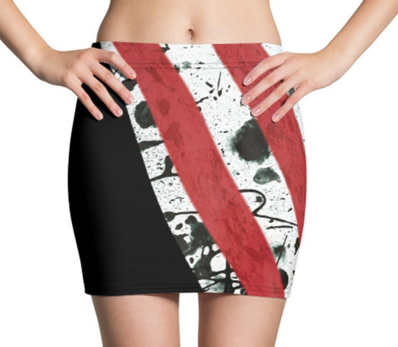 Retro 1980s Mini Skirt, Horror Slasher Movie Aesthetic, Vintage Print, Stretch Fabric Feels Great