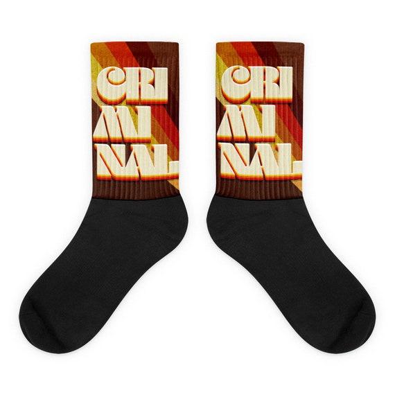 Criminal Socks, 70s Aesthetic Novelty Socks, Crime Junkie Gift for Murderino