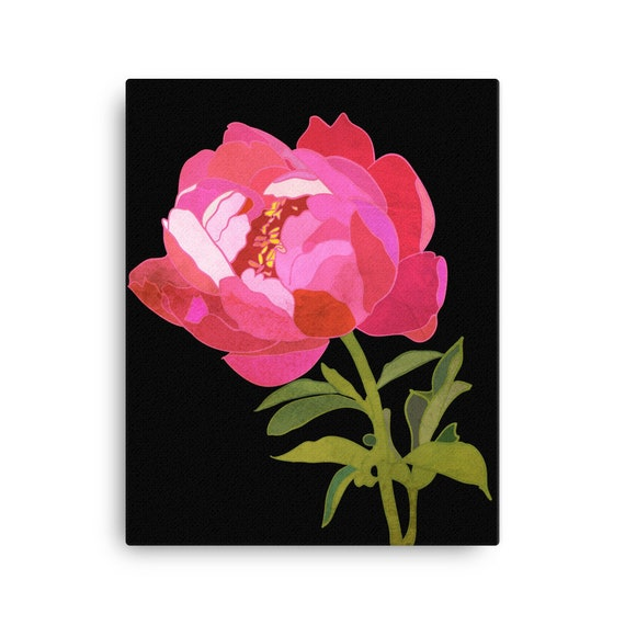 Peony on Black Canvas, Wall Art Statement, Home Decor, Vibrant Original Painting