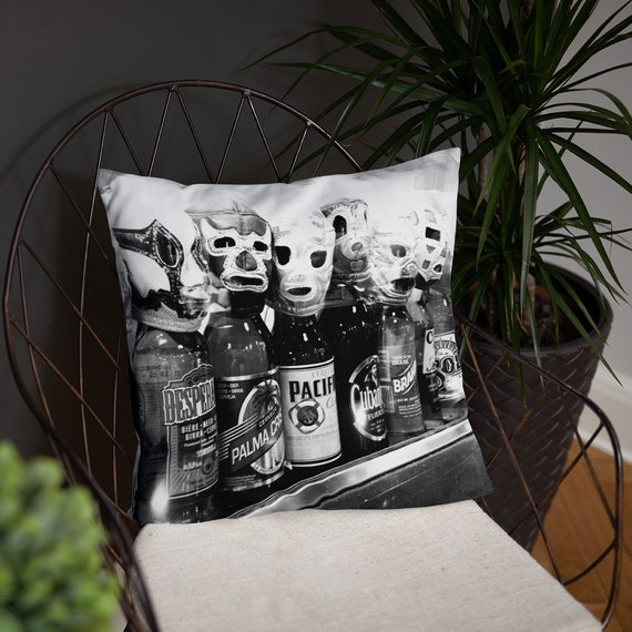Lucha Libre Beer Pillow, Accent Cushion, Dorm Decor, Man Boy Bedroom Sofa Game Room, Home Staging
