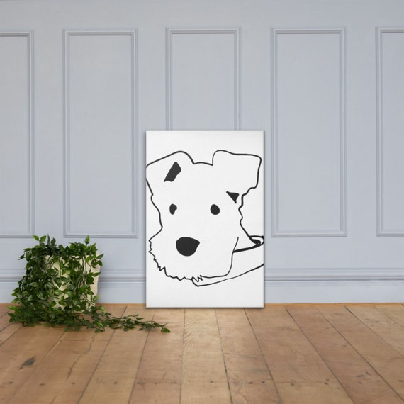White Schnauzer Dog Canvas Art Piece, Minimalistic Line Art, Modern Home Decor, Interior Room Staging