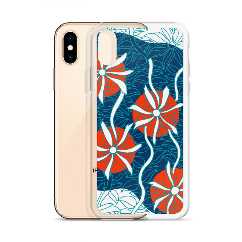 Aquatic Pattern Phone Case Underwater Background Red White Etsy