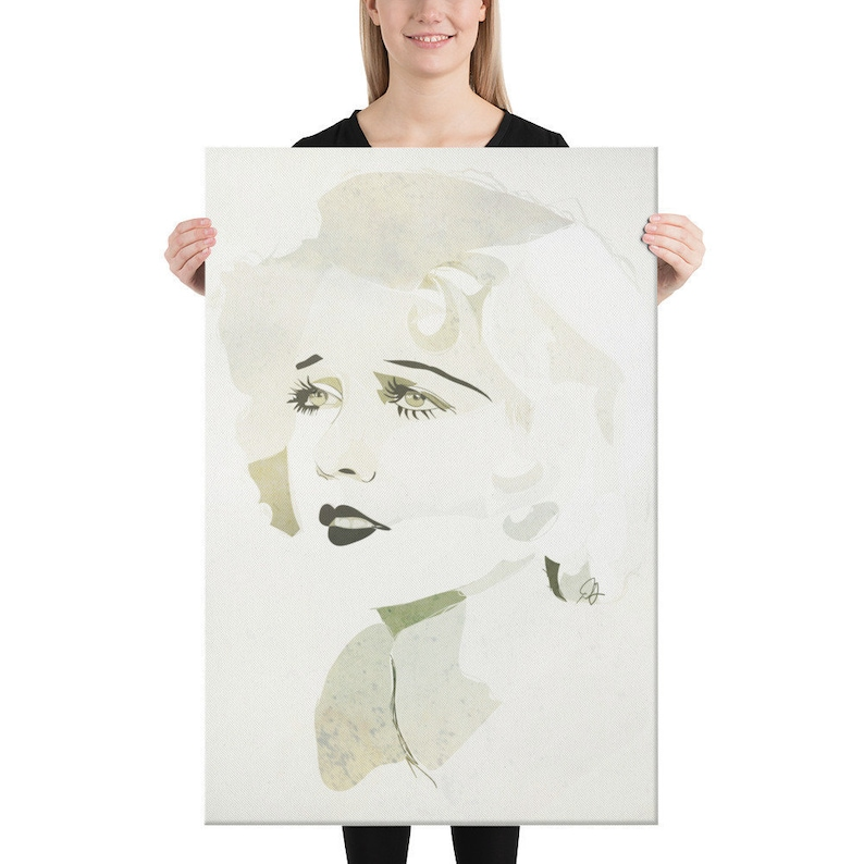 Large Canvas Portrait Old Hollywood Silver Gray Ivory 24×36