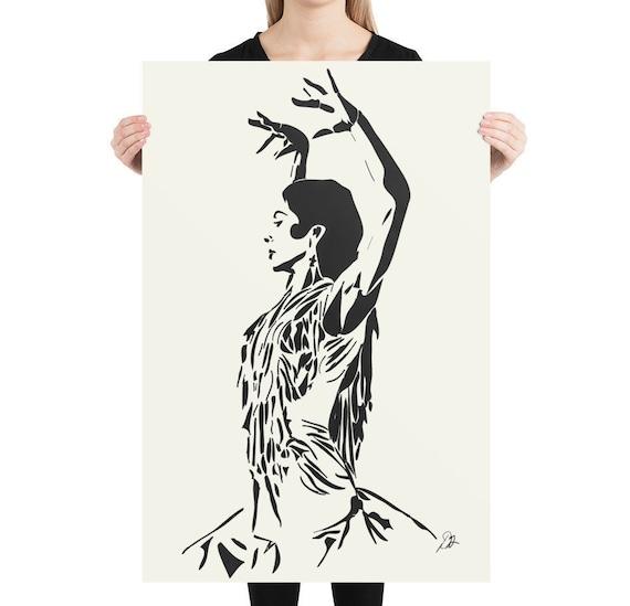 Flamenco Dancer Art, Giclée Print, Minimalist Dance Theme Artwork for Home Decor, Interior Room Staging