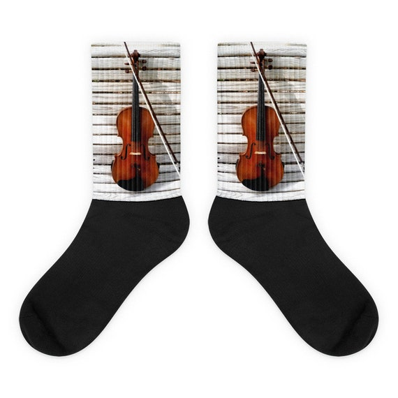 Violin Socks, Cool Music Instrument Socks, Gifts for Violinist, Orchestra, Band Friend Present