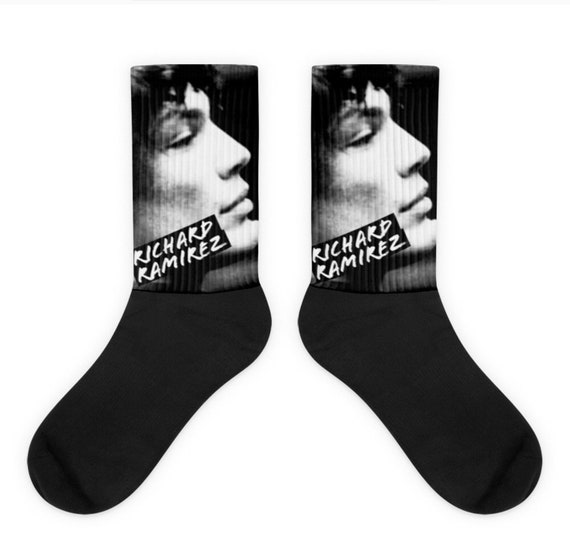 Night Stalker Richard Ramirez, Serial Killer True Crime Novelty Socks, Weird Unique Horror Gift