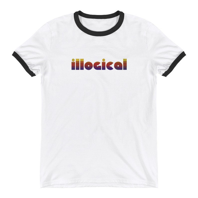 Illogical Graphic T Shirt Ringer Style Semi Fitted Vintage White/Black