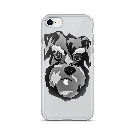 Miniature Schnauzer iPhone Case, Cute Dog Graphic, Handmade Unique Animal Lover Phone Cover, Grumpy Funny Dogs, Gift for Pet Owners
