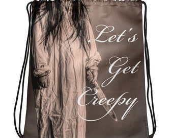 Creepy Cute Backpack, Drawstring Bag Purse for Goth Horror True Crime Fans, Gifts under 30