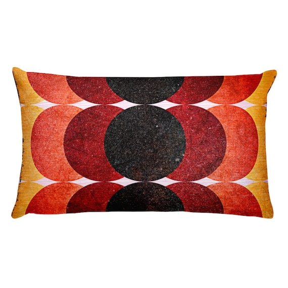 Retro Circles Throw Pillow, Accent Cushions Mid Century Modern Design, Groovy Colors, Vintage Pattern