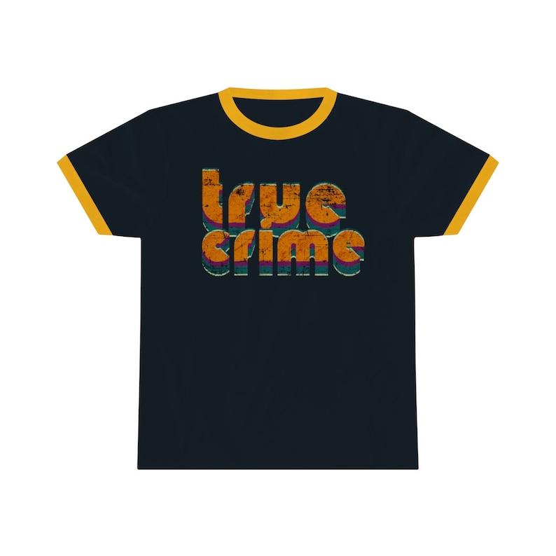 True Crime Retro T Shirt Ringer Style Shirt Colored Collar Navy / Gold