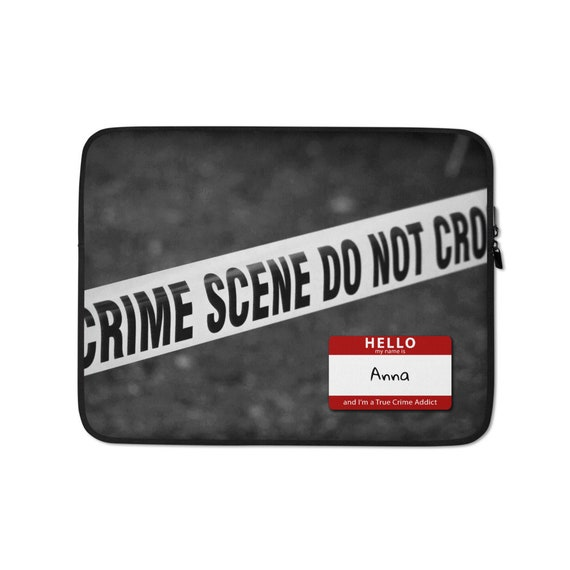 Personalized True Crime Laptop Sleeve, Custom Police Scene Graphics, 13 or 15 inch Computer, Macbook Accessory Gift