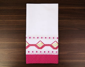 Pink Swedish Weaving Tea Towel - Hand Embroidered - UK