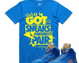 b917ee230d7112 Air Jordan 5 V Laney T Shirt Varsity Royal Yellow Retro NEW PAIR Sneaker Tee  Sneakerhead