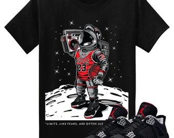 521cabd4caa7ec Air Jordan IV 4 Bred Black Red T Shirt Cement Retro ASTROBRED Sneakerhead  Tee