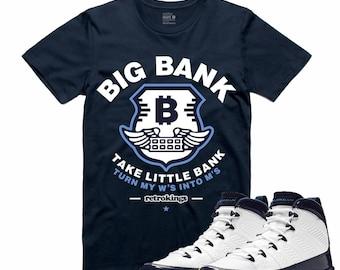 472ff8cd206 Air Jordan 9 IX Midnight Navy T Shirt Carolina Blue unc Retro BIG BANK  Sneakerhead Sneaker Tee