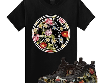 fc7b9b05968db Floral Air Foamposite One FLORAL 1CENT Penny Black T Shirt Matching  Foamposite Floral Foams Tee
