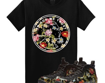 cdd31858a8e62c Floral Air Foamposite One FLORAL 1CENT Penny Black T Shirt Matching  Foamposite Floral Foams Tee