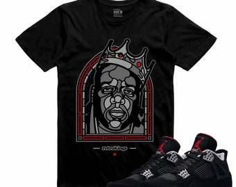 2e0cf453a893 Air Jordan IV 4 Bred Black Red T Shirt Cement Retro B.I.G. Sneakerhead Tee