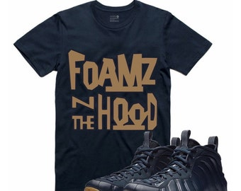 1fef979459c Midnight Navy Gum Air Foamposite One T Shirt Match Foams Sneaker  Sneakerhead Tee