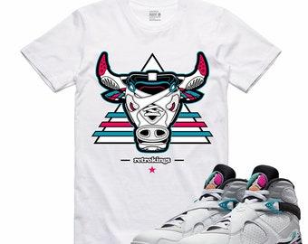 bd112d176bd7f9 Air Jordan 8 VIII Turbo Green Spurs South Beach Sneaker T Shirt Sneakerhead  Tee