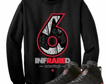 23f7210ef822 Air Jordan 6 VI Infrared Sneaker Crewneck Sweatshirt Matching Retro RARE Sneaker  head Shirt