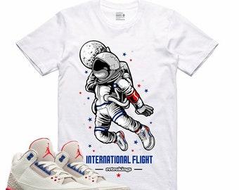 115f2453ebfef2 Air Jordan III 3 International Flight Sneaker T Shirt Red White Blue USA  Olympic Sneakerhead Tee