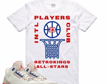 ba12c54556f Air Jordan III 3 International Flight Sneaker T Shirt Red White Blue USA  Olympic Sneakerhead Tee