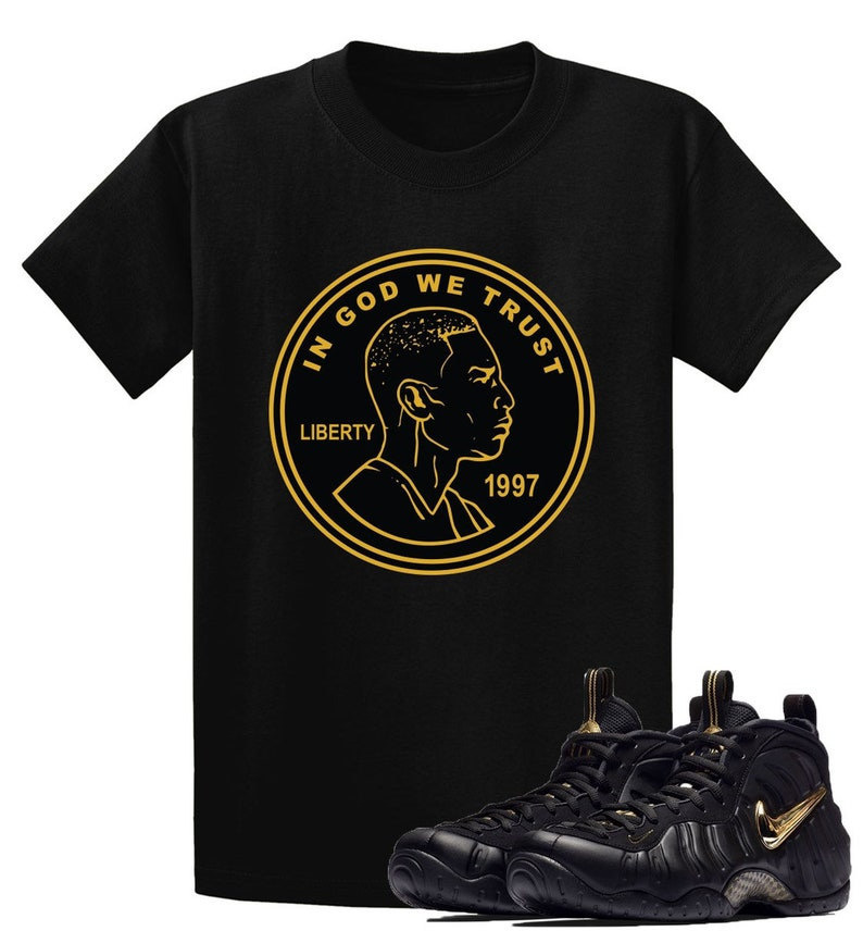 752431bebec Air Foamposite Pro Black Metallic Gold T Shirt Matching