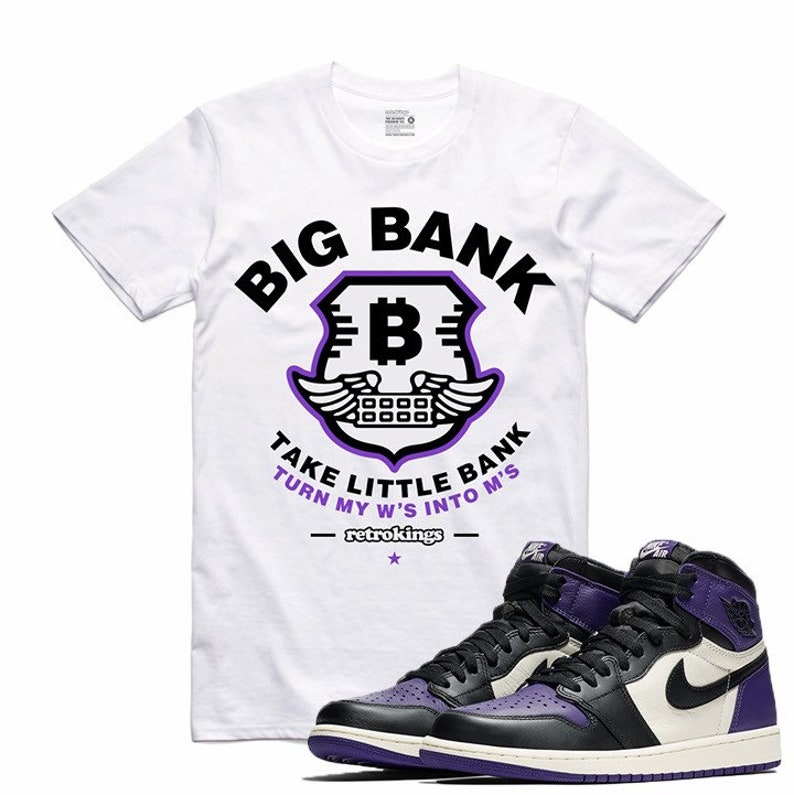 42f0b1a7ec84d3 Air Jordan 1 I Court Purple Sneaker T Shirt Sneakerhead Tee