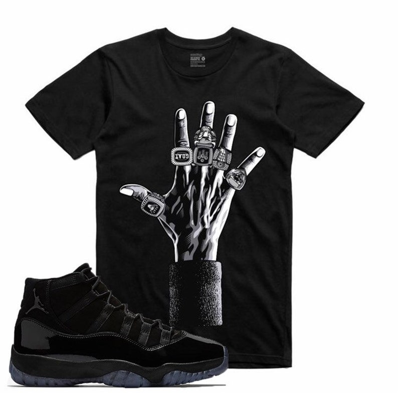 separation shoes b943b 9863f Air Jordan 11 XI Cap and Gown 6 Rings T Shirt Black   Etsy