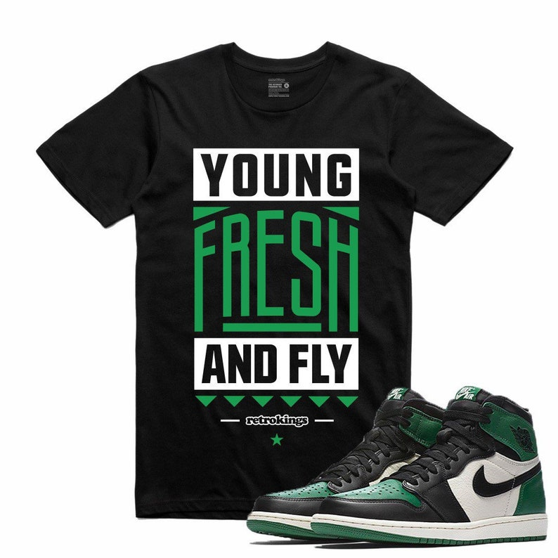bba471ecd21157 Air Jordan 1 I Pine Green Sneaker T Shirt Sneakerhead Tee