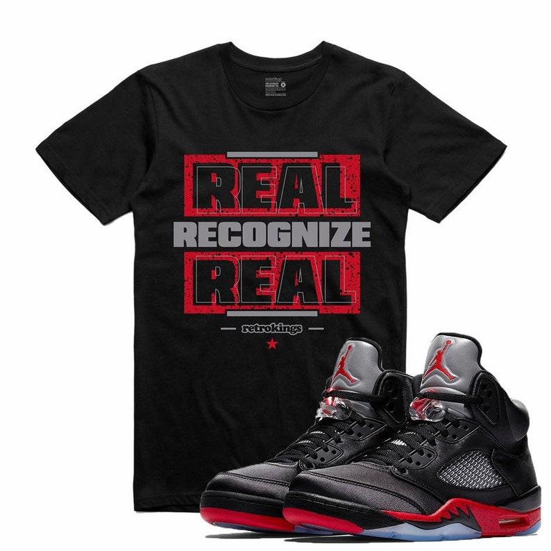 1293d5595bf Air Jordan 5 V Satin Bred T Shirt Matching Retro Sneakerhead | Etsy