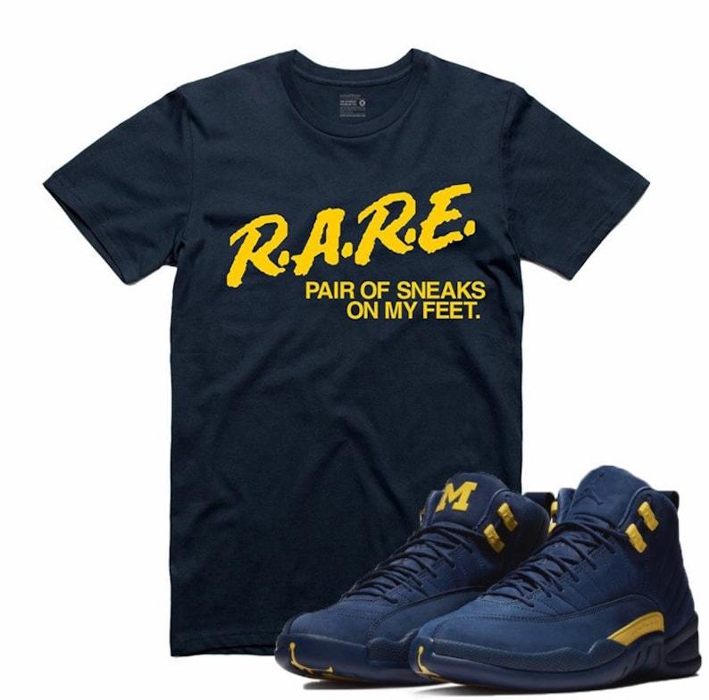 b2a6042a5dd3f Air Jordan 12 XII MICHIGAN Navy T Shirt FAB 5 Sneaker Tee