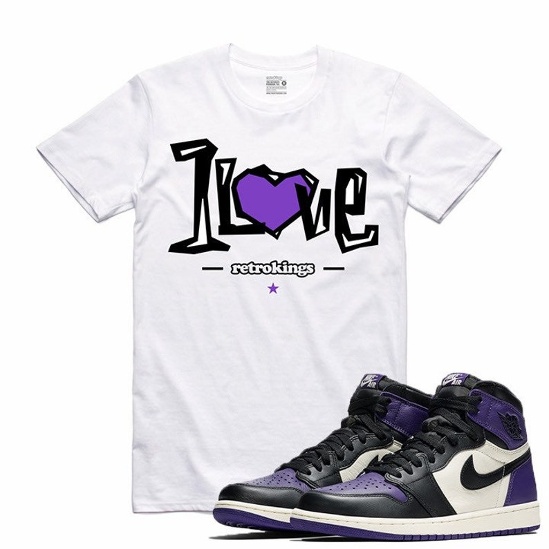 f9744d474c7af2 Air Jordan 1 I Court Purple Sneaker T Shirt Sneakerhead Tee