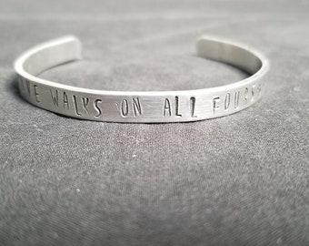 Love Walks on All Fours - Handstamped Bracelet