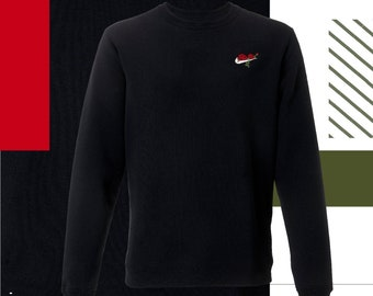 Red rose embroidered Nike jumper.