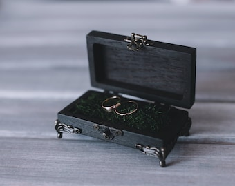 Wedding ring box  Ceremony ring box   Black ring box