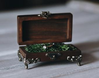 Rustic ring box, Wedding ring box, Ceremony ring box, Wood ring box, Personalized ring box