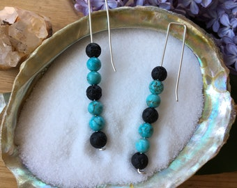 Silver Dangles with Turquoise and Lava Stone