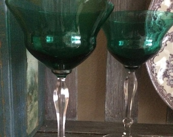 Vintage Teal/Green Cordial Glasses Set of (2)