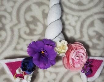 Rosette de la boule - bandeau Licorne florale fait à la main