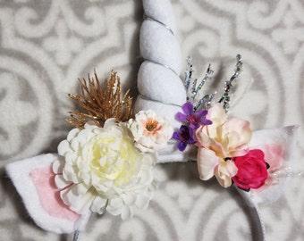 Winter glitter - handmade floral unicorn headband