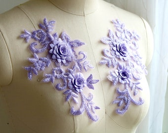 L14 ~  SET OF 2  LAVENDER FLOWER BEADED APPLIQUES 1/""