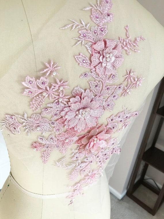 bf0e16e2caaa ... A036-b rose 3D Applique pour de dentelle perlée avec perle pour  Applique Costume de
