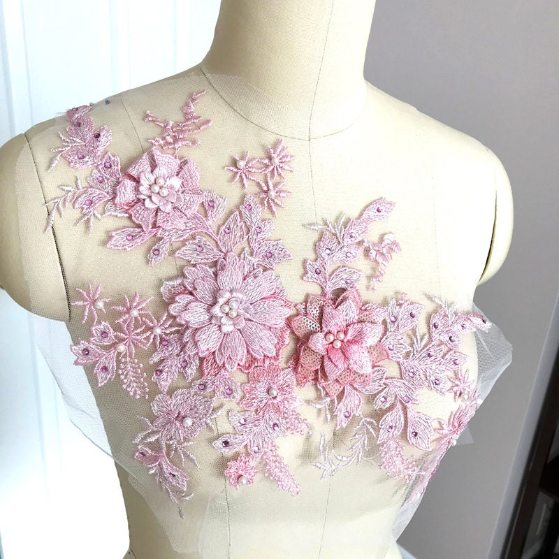 A036-b rose 3D Applique pour de dentelle perlée avec perle pour Applique  Costume de 6a19f942b3f