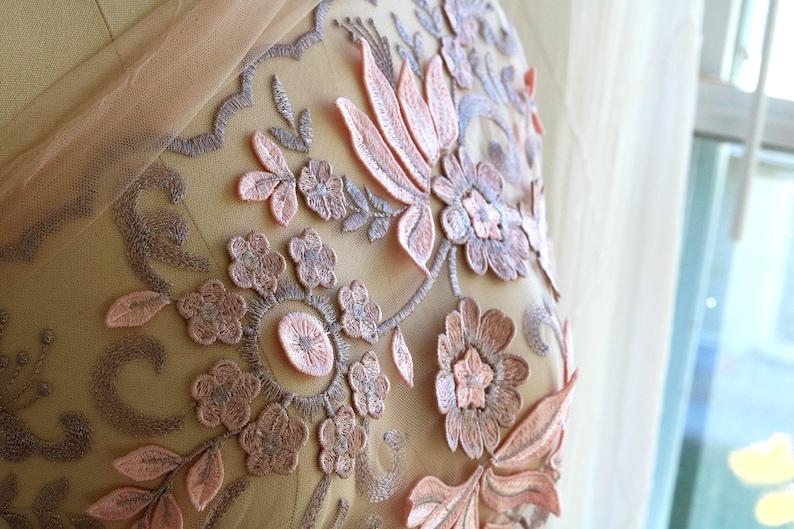 Floral Lace Fabric Lavender Pink Lace Fabric 3d Lace Fabric F018-a Rose Gold 3d Lace Fabric Garment Lace Fabric Leaf Lace Fabric