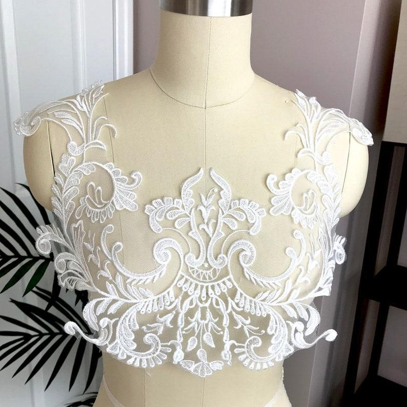 Bridal veil Lace Applique A048 Bridal dress Lace Applique Embroidery Lace applique back Bodice Lace Applique Wedding Dress Lace Applique