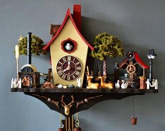 Cuckoo clock,wall clock, modern cuckoo clock, home decor,hand made,pinetree,,design clock,art clock,mountain house,kuckucksuh, clock,forest