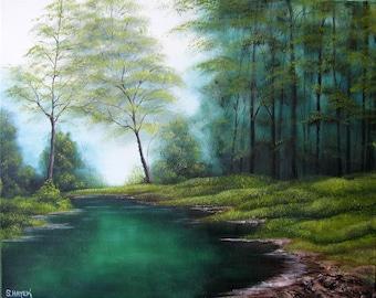 Hidden Creek - matted art print from original oil painting by Sharon Hayek